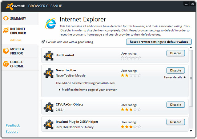 Avast Browser Cleanup te scapa de toolbars